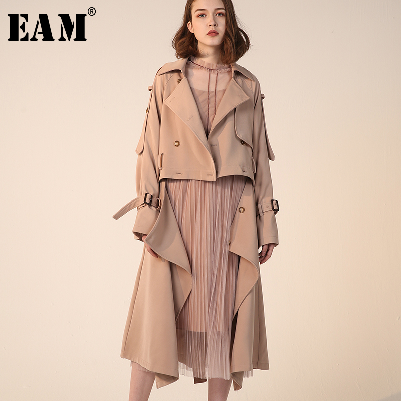 [EAM] 2019 New Spring Summer Lapel Long Sleeve Kahki Loose Pleated Stitch Bandage Windbreaker Women   Trench   Fashion Tide JQ888