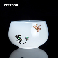 40ml Boutique Jade Porcelain Inlaid Silver Lotus Dragonfly Master Cup Japanese Kung Fu Tea Sets Bowl