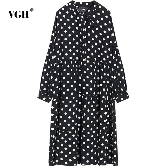 VGH Polka Dot Dresses For Women Stand Collar Loose Oversize Bow Lace Up  Long Dress Autumn Fashion Elegant Clothing New 2018