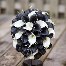 2017 Real Images Artificial Calla Flower Wedding Bouquet black&White calla lily flowers pearls bride bouquet bouque de novia