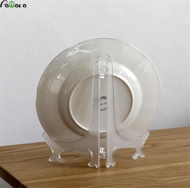 12Pcs/Set Clear Plastic Display Stand Dish Rack Plate Bowl Picture ...