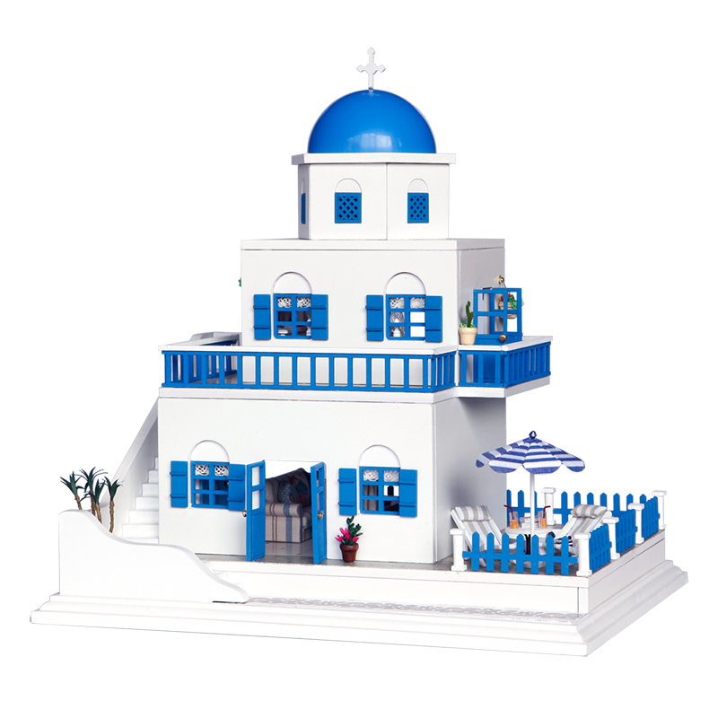 DIY Miniature 3D Model Dollhouse With Furnitures Wooden Doll House Handmade Toys Gifts Santorini Island A026 #E wooden handmade dollhouse miniature diy kit caravan