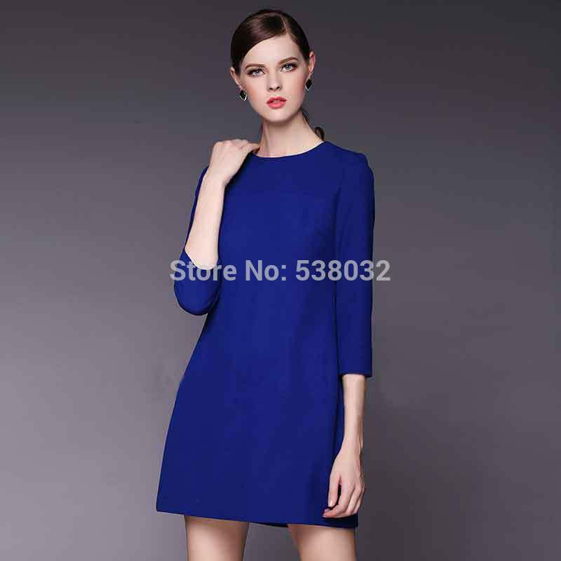 87629d00388c8 2016 autumn and winter dress fashion women career apparel solid royal blue  dress simple atmosphere buxom lady plus size xxxl