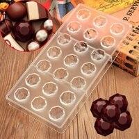 Molde de la hornada herramientas moldes de chocolate de lujo de diamantes esfera forma de policarbonato molde del chocolate del molde del chocolate 3d alimentos