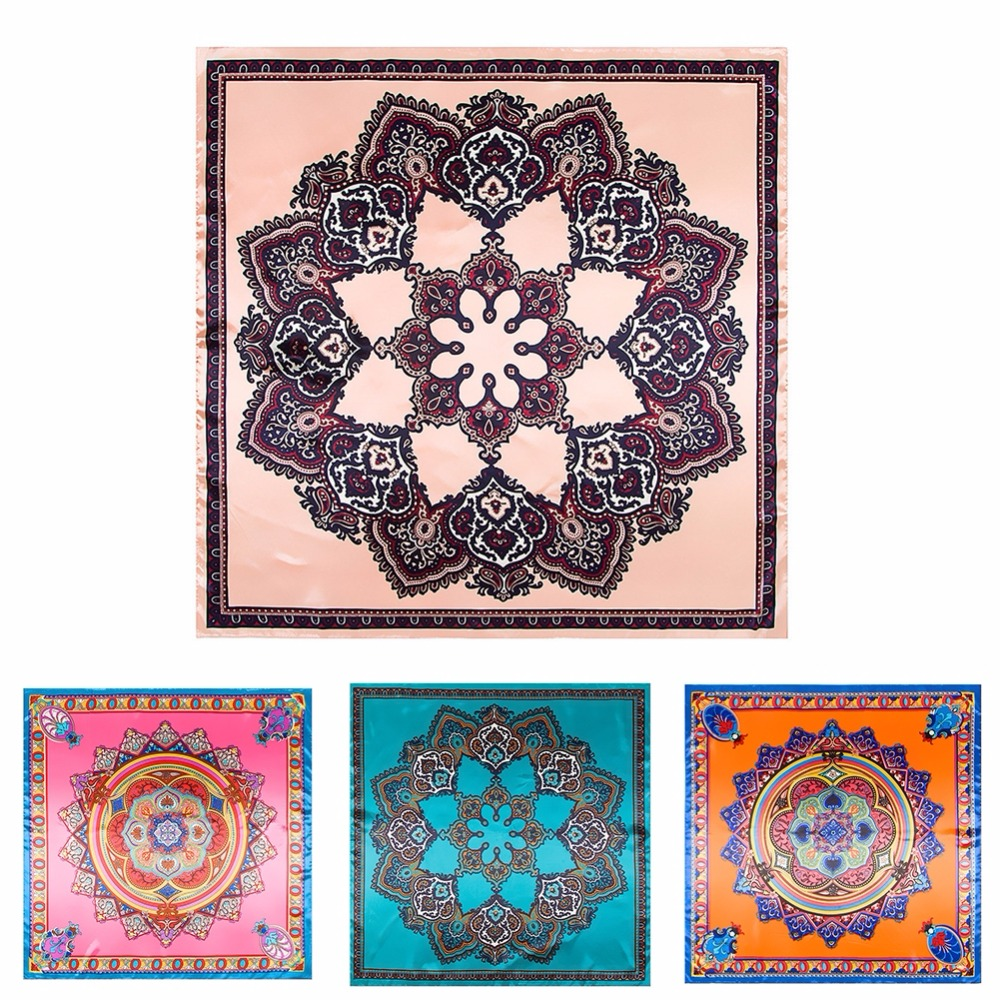 LEAYH Brand New 90cm 90cm Printed Shawls Bohemian Bodhi Twill Silk Square Scarf Large Head Wraps Scarves For Women Female in Women 39 s Scarves from Apparel Accessories