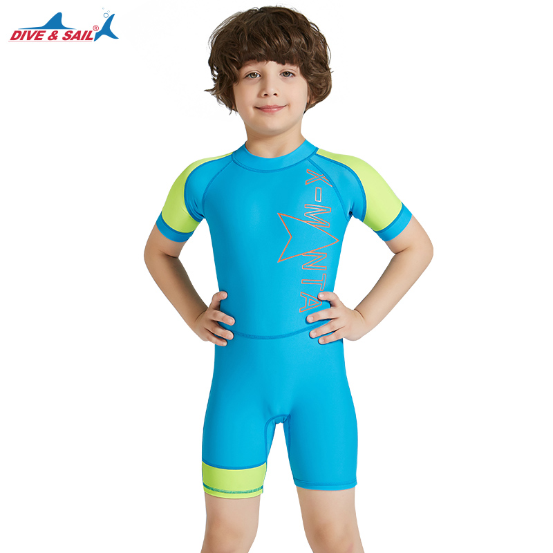 658db463d2 Kids Swimming Suit One piece Jump Suits Back Zipper Bathing Suits Dive Skin Shorty  Swimwear Children Girls Boys UPF50+ Lycra-in Children s One-Piece Suits ...