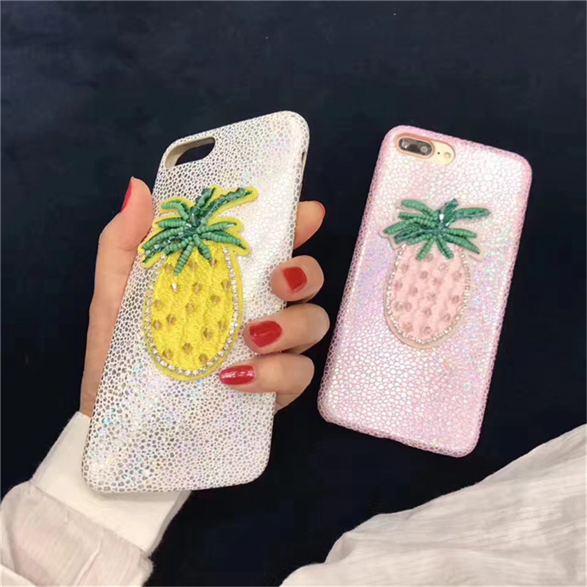 New Summer Glitter Pineapple Phone Case For iPhone 7 7plus Soft PU Bling Cover for iPhone 6 6s 6plus 6splus