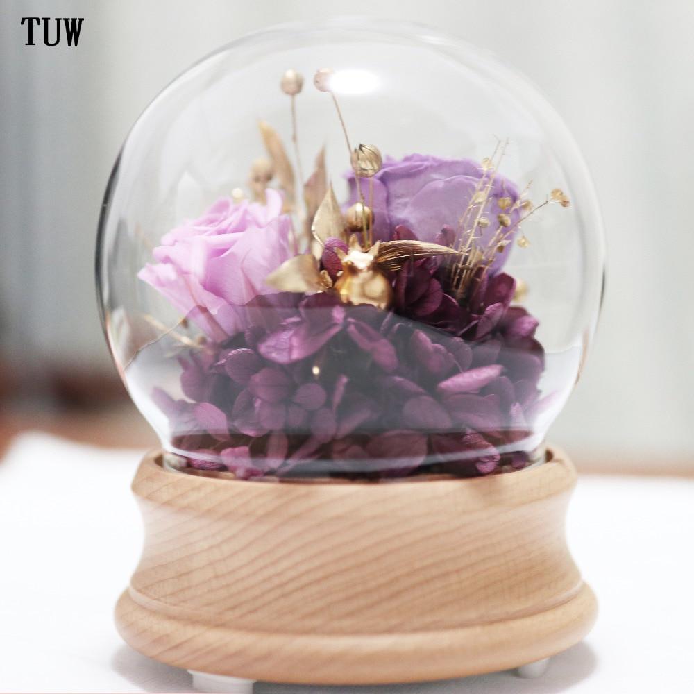 BS-089 mini portable bluetooth glass cover speakers purple preserved fresh flowers stereo music speakers цены онлайн