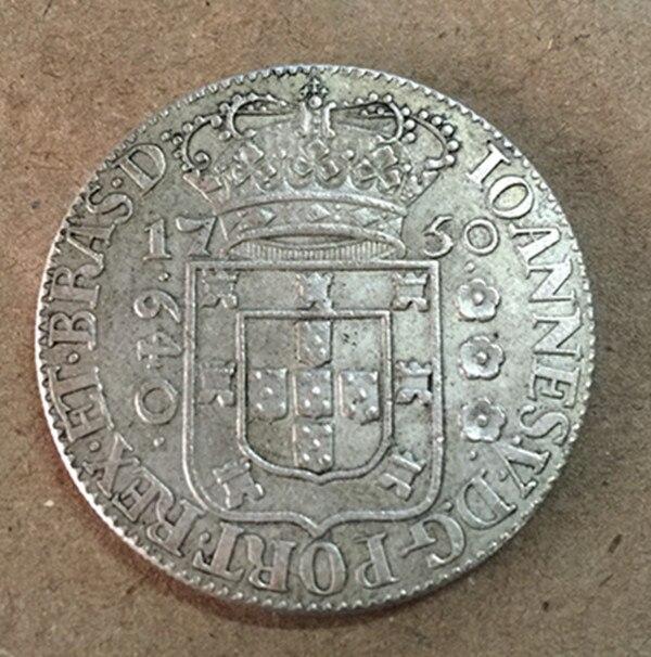1750 Бразилия 640 Reis-Жоао V Silver КОПИЯ монета