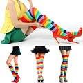 1 пара Мода Леди Девушка очаровательная Красочные Полиэстер Над Коленом Чулок Радуга высокая Tigh леггинсы