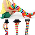 1 pair Fashion Lady Girl charming Colorful Polyester Over Knee Stocking Rainbow high Tigh  leggings