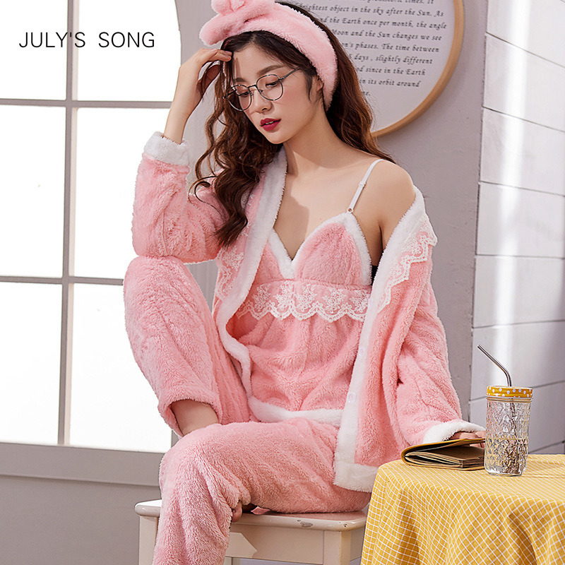 JULY'S SONG Women   Pajama     Sets   4 Peices Flannel Pink Thick Warm Women Autumn Winter   Pajamas   Sleepwear Sling Lace Sexy Homewear