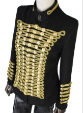 WHC001 Gold color/Europe Napoleon Balmai style uniform/retro double breasted jacket/pearl beads jacket/brand star jacket coat