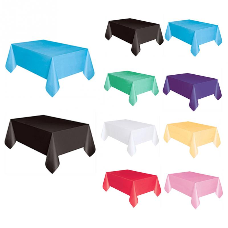 Image 2 - 137x183cm Solid Color Disposable Tablecloth Kids Happy Birthday Wedding Party Tablecover Supplies White Black red yellow-in Disposable Party Tableware from Home & Garden