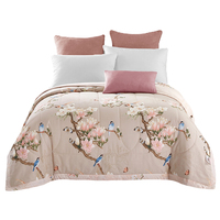 Arnigu Cotton Bedspread American Pastoral Flower Bird Print Throw Single Double Bed Summer Thin Comforter Stiching