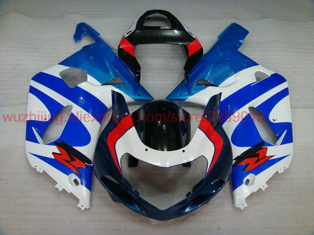GSX R 600 750 1000 2000 - 2003 K1 K2 2003 Plastic Fairings GSXR 600 750 1000 2001 Blue White Abs Fairing GSX-R1000 2002 Fairings