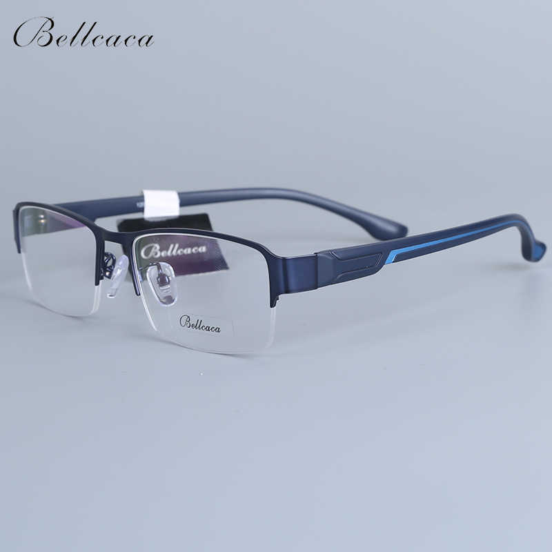 Bellcaca Spectacle Frame Men Eyeglasses Nerd Computer Optical Transparent Clear Lens Eye Glasses Frame For Male Eyewear 12006