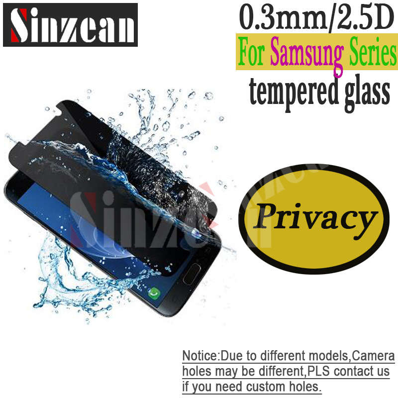 Sinzean 100pcs Privacy Tempered glass For Samsung Galaxy S7/S8/S9/Plus/A8 Plus/J5/7 Prime /J2 Pro 2018 Screen Protector 2.5D