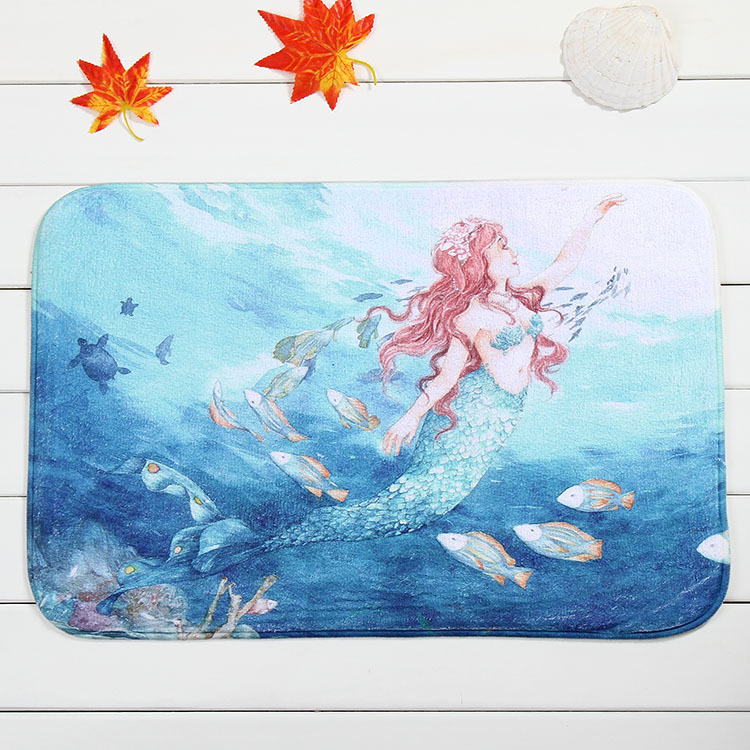 sunnyrain 1piece mermaid coral fleece area rug for kitchen bathroom slip resistant absorbent machine