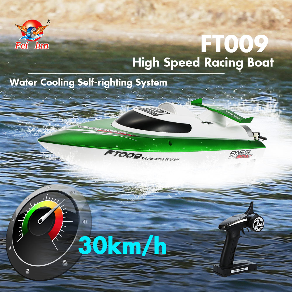 все цены на 106106 Hot Sale RC Boat FEI LUN FT009 2.4G 4CH Water Cooling System Self-righting 30km/h High Speed Racing RC Boat 27cm онлайн