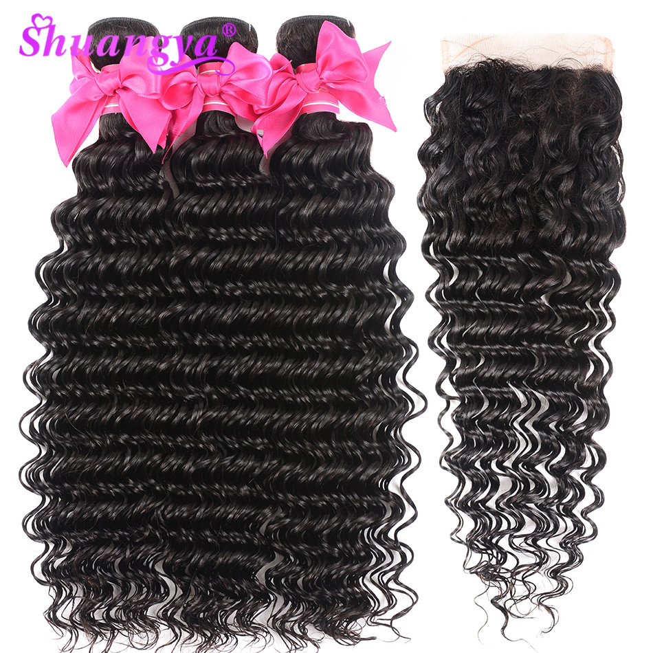 Peruvian Hair Bundles With Closure 100 Human Hair Bundles With Closure Remy Deep Wave Bundles With