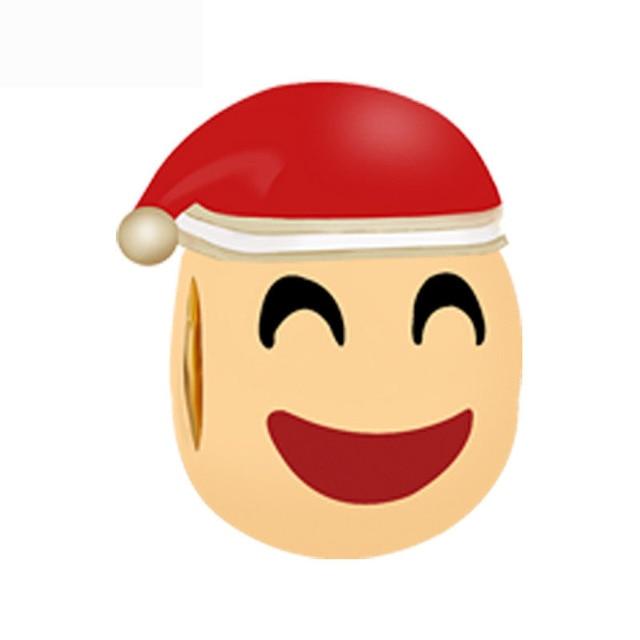 Free Shipping Christmas Gift 1pc Gold Red Hat Emoj Big Hole Bead Charms Fit  European Pandora