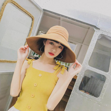 Women Fashion hat Concise Casual Solid Color Wide Brim UV Protection Folding Bucket Hat