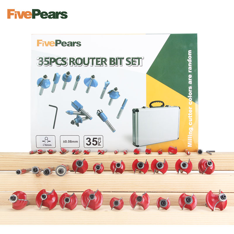 FivePears 35 pz 6mm Router Bits Set Professionale Shank Carburo di Tungsteno Router Bit Cutter Set Con Cassa di Legno Per di legno