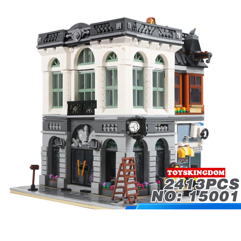 Hot Creators City Street View Bank Lepins Building Block Model Bricks Educational Figures Toys Collection for Children Gifts hot city series aviation private aircraft lepins building block crew passenger figures airplane cars bricks toys for kids gifts
