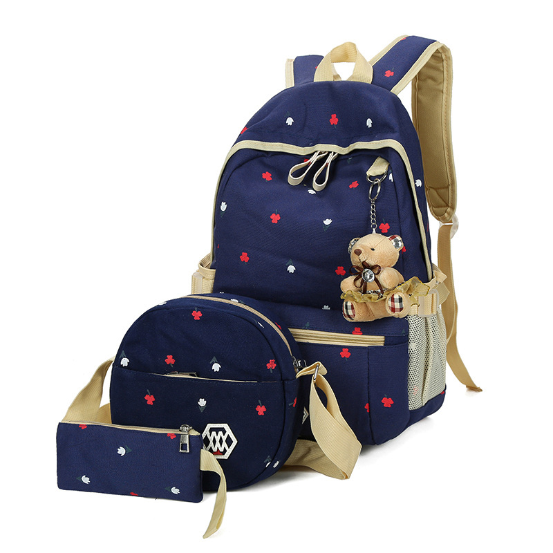 women canvas backpack 3 pcs/set Dot Printing Backpack Cute Light weight school backpack Middle High School Bags Teenage Girls canvas backpack women for teenage boys school backpack male
