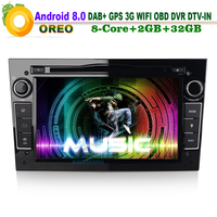 Android 8.0 DAB+ MP3 DVD Head Unit GPS Navigation Sat Nav Car CD player Radio for Opel Astra H Vectra C Zafira Wifi OBD
