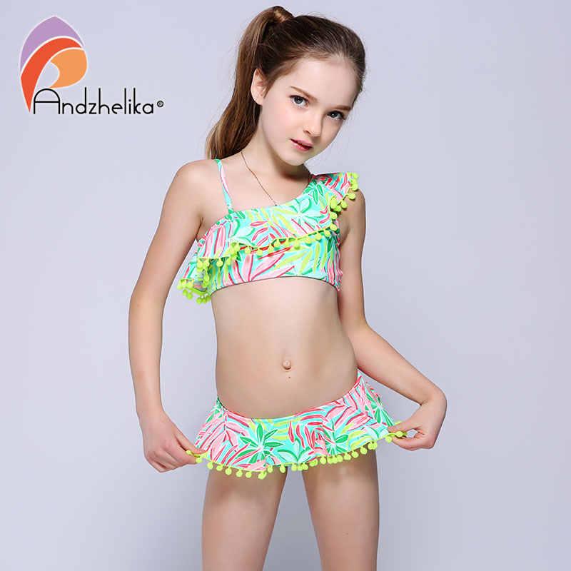 6ef8958f1 ... Andzhelika Bikini Children's Swimwear Ball Cute Lotus Leaf Dress  Swimwear Two Piece Kid One Shoulder Swimsuit ...