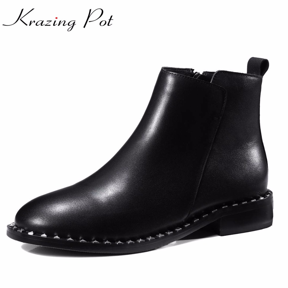 Krazing Pot cow leather keep warm round toe slip on Chelsea boots low heels European rock punk handmade winter ankle boots L35 fashion genuine leather chelsea boots handmade keep warm winter boots round toe thick heels concise ankle boots for women l08