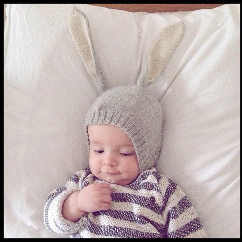 Cute Long Rabbit Ears Baby Cap Girls Boys Fall Winter Children Wool Knit Hat Shape