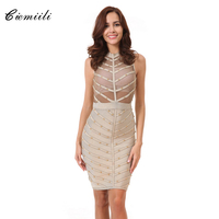 CIEMIILI Summer 2018 Dresses Mesh Stud Sleeveless Knee length SexyParty Short Dress Bodycon Bandage Black Dress Free Shipping