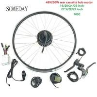 Um dia 48v250w kit de conversão de bicicleta elétrica com display lcd5 e bike traseiro cassette hub motor com raios e aro|Kit de conversão| |  -