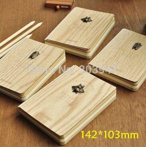 4PCS/LOT Vintage Log Wooden style DIY diary book 142*103mm Nice gift wholesale bookfactory® box scores log book 120 page 8 5x11 hardbound xlog 120 7cs a l main box scores log book