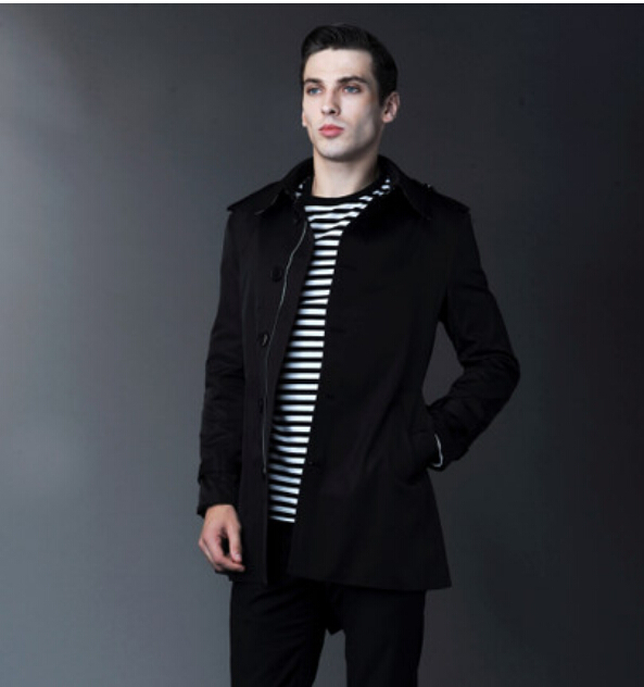 Online Shop 2014 New fashion Short Men's trench coat men's double ...
