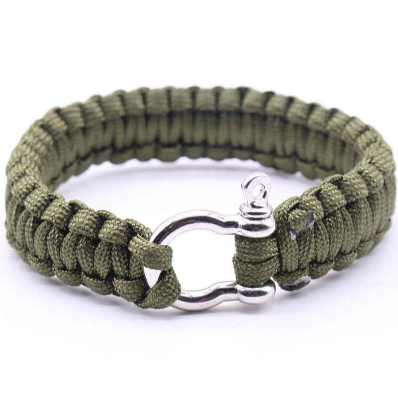 Quality Outdoor Army Green Parachute Cord Survival Bracelet Men's Black Stainless Steel Buckle Climbing Sport Jewelry