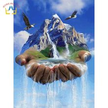 coloring by numbers sky waterfall posters and prints on the wall home decoration modular pictures diy paints painting RA3247(China)