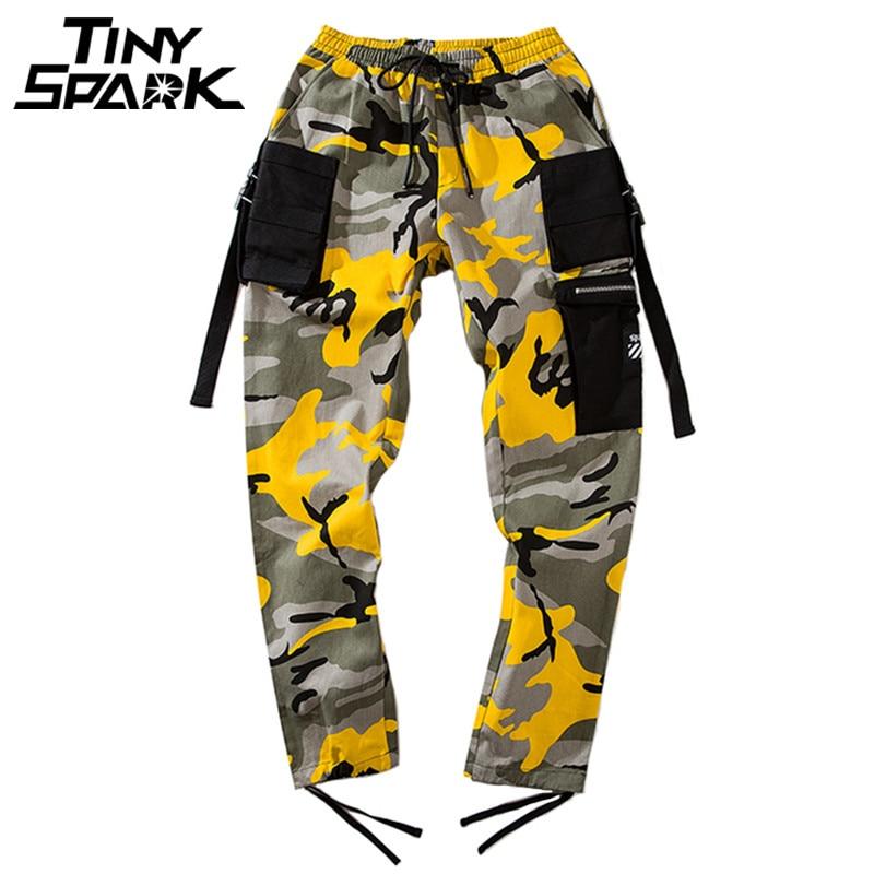 Hip Hip Harem Pantalon Camouflage Hommes Pantalon Cargo Tactique Streetwear Pantalon Jaune Armée Casual Camo Pantalon Multi Poche 2018 Automne
