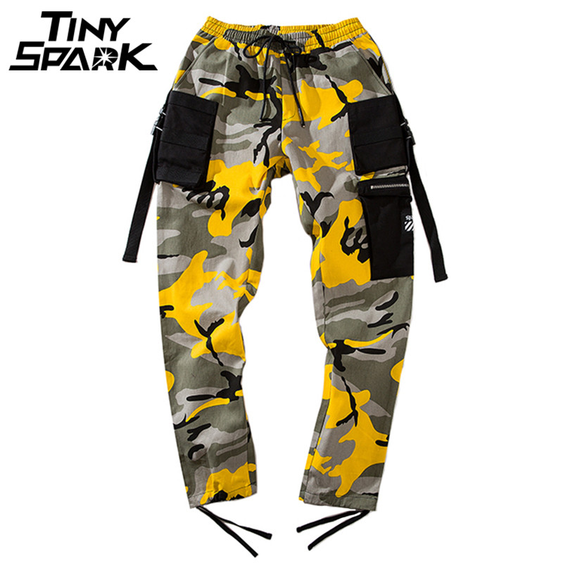 Hip Hip Harem Pants Camouflage Men Cargo Pant Tactical Streetwear Pant Yellow Army Casual Camo Trousers Multi Pocket 2018 Autumn