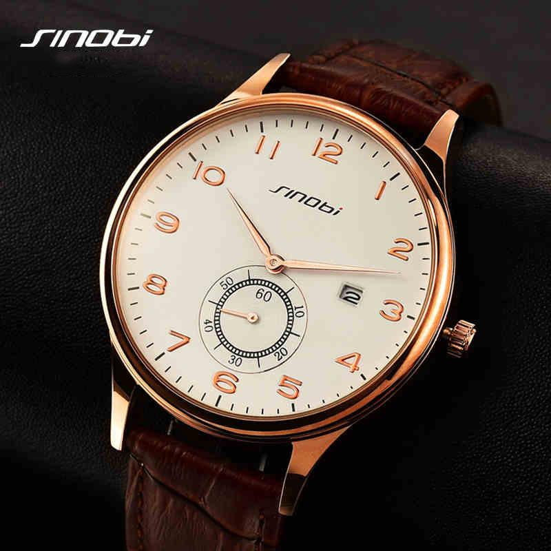 Prix pour Simple classique entreprise montre à Quartz hommes japon SINOBI marque cuir de montre - bracelet Casual 2016 Relojes hombre nouvelle