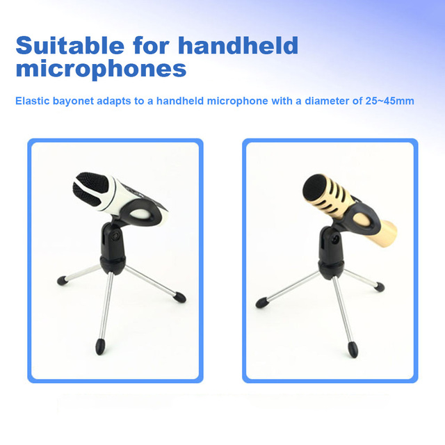 Microphone Mic Stand Tripod Bracket Portable Zinc Alloy Desktop Table Adjustable Holder 1