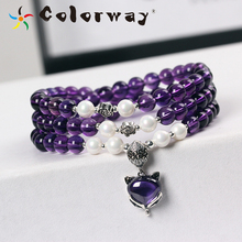 ФОТО colorway natural amethyst gemstone 925 sterling silver bracelet new year's gifts costume jewelry bracelets for women soy luna