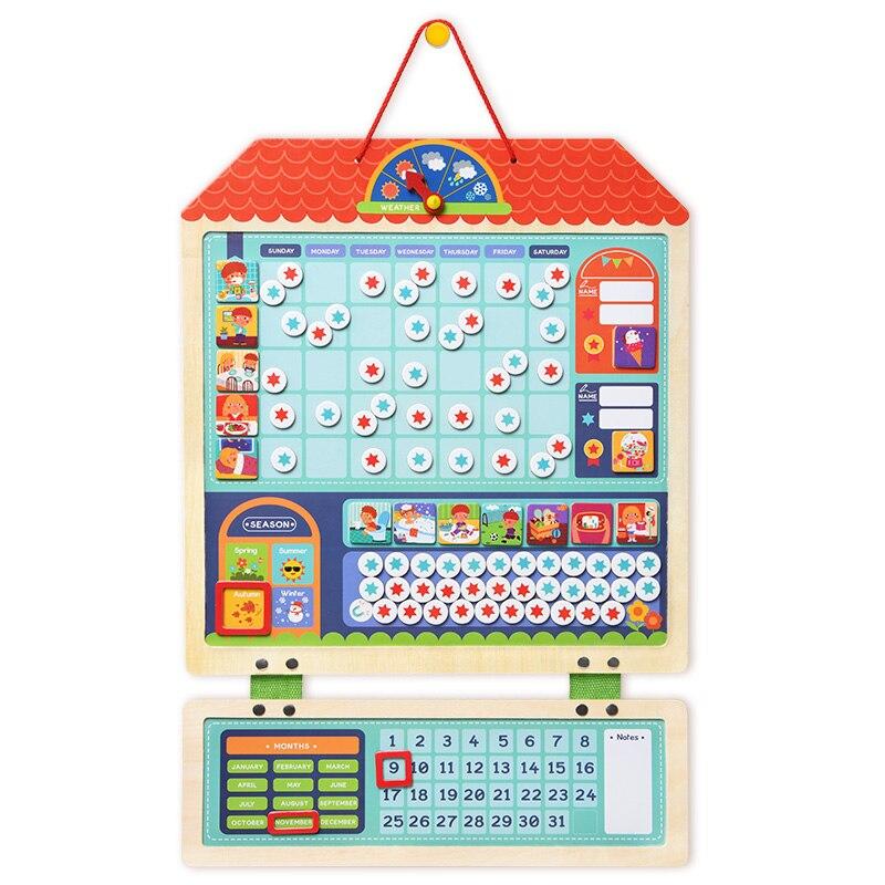 Enfants en bois magnétique Montessori matériel jouets éducatifs pour enfants multifonction comportement feuille horloge calendrier oyuncak