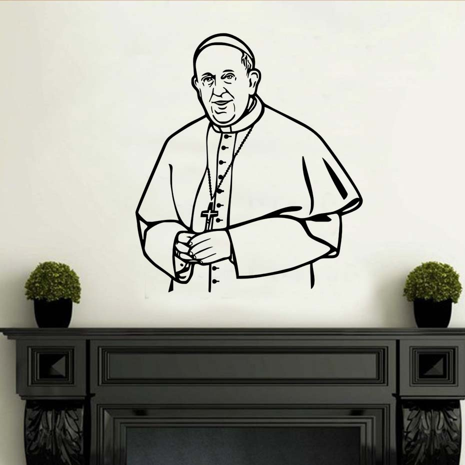 Removable Vinyl Wall Stickers Priest Mural Art Waterproof Vinyl Wall Decal Background Wall Sticker Office Room Home Decoration