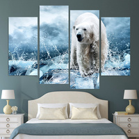 Hot Sell 4 Piece Iceberg Snow Leopard Canvas Print Oil Painting Large HD Wall Art Picture