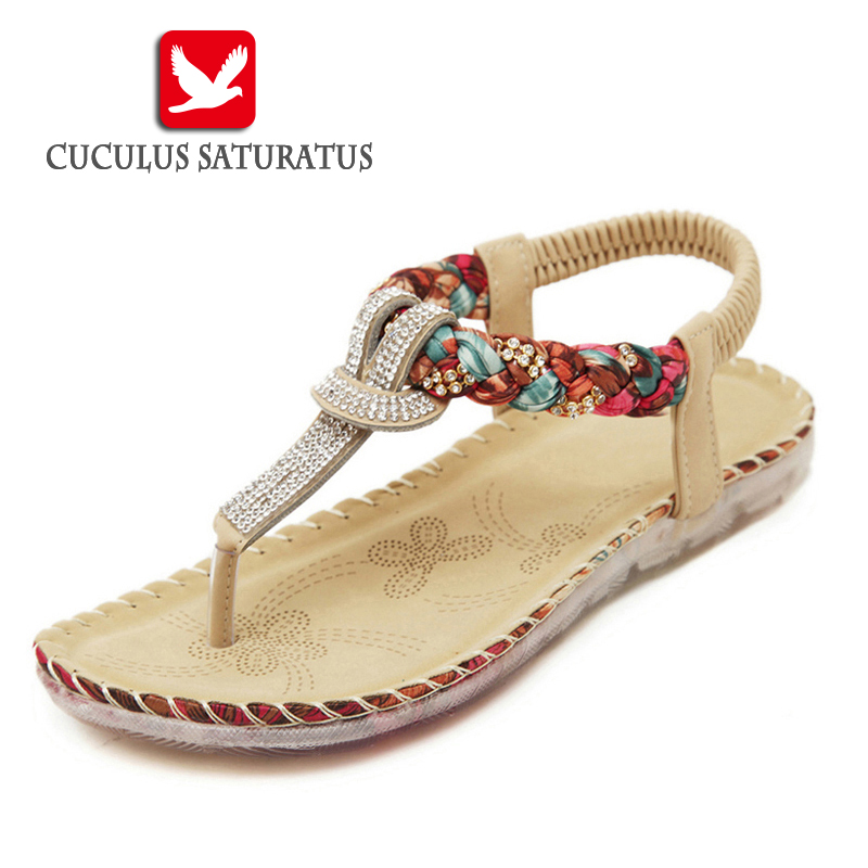 Cuculus Women Summer Sandals Bling Beading Plaftorm Wedges Shoes Woman Slid Slip-on Roman Flip Flops Size 35-42 527-1 wedges gladiator sandals 2017 new summer platform slippers casual bling glitters shoes woman slip on creepers