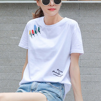 HD503 Summer New Cotton Short Sleeve T shirt Female White